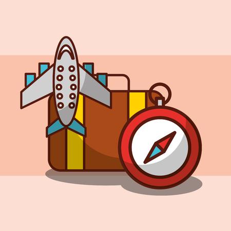 Ilustración de Time to travel airplane suitcase and compass vector illustration. - Imagen libre de derechos