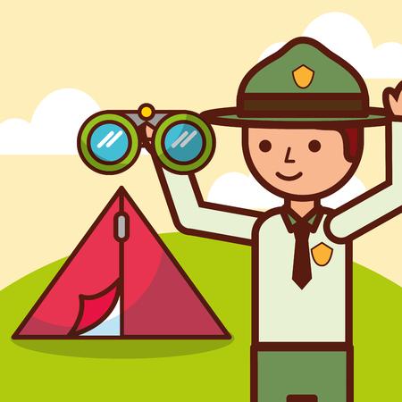 Ilustración de time to travel boy explorer tent and binoculars vector illustration - Imagen libre de derechos