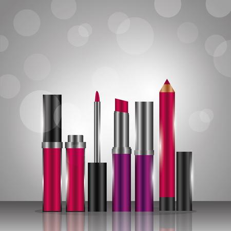 Ilustración de Gloss lipstick eyeliner cosmetics makeup gray blur background vector illustration. - Imagen libre de derechos