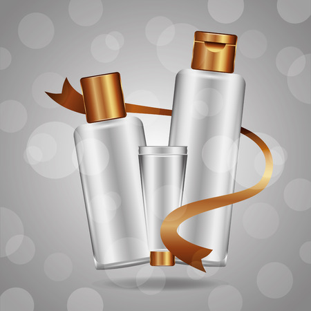 Illustration pour Cosmetics makeup bottles tube cream on gray background blur vector illustration. - image libre de droit