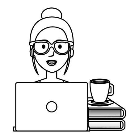 Ilustración de beautiful woman with laptop and books vector illustration design - Imagen libre de derechos