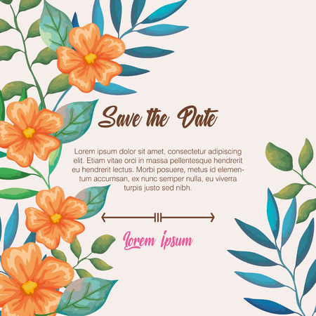 Illustration for flowers and leafs invitation card vector illustration design - Royalty Free Image
