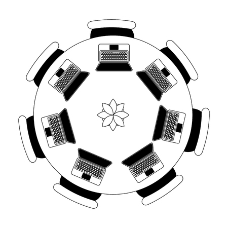 Illustration pour workspace meeting round table chairs laptops computer vector illustration - image libre de droit