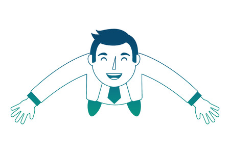 Illustration for top view businessman standing looking up arms up vector illustration neon blue - Royalty Free Image