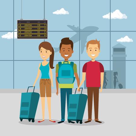 Ilustración de group of travelers in the airport vector illustration design - Imagen libre de derechos