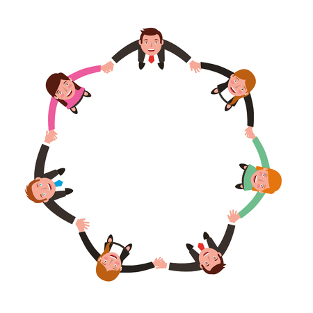Ilustración de aerial view of group business people holding hands vector illustration design - Imagen libre de derechos
