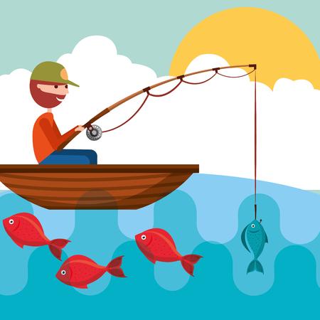 Ilustración de fisherman in the boat with fish in rod hook vector illustration - Imagen libre de derechos