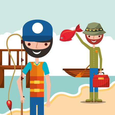 Illustration pour fisherman fishing in wooden bridge shore boat cartoon vector illustration - image libre de droit