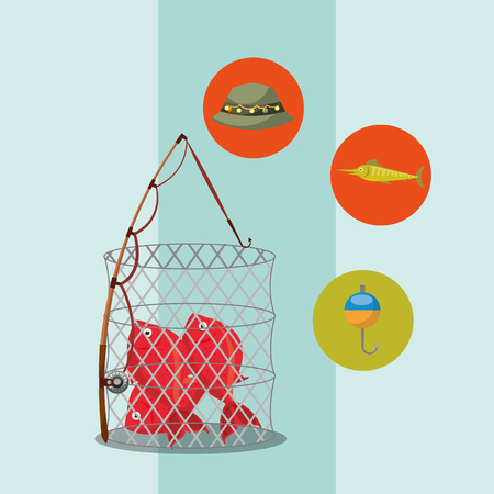 Ilustración de fishing fish on basket rod hat hook equipment vector illustration - Imagen libre de derechos