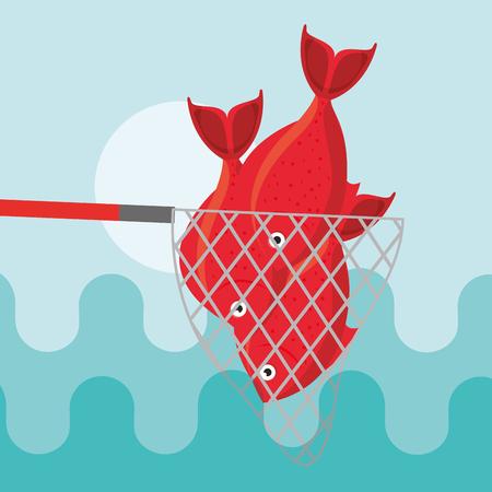 Illustration pour red fishes caught in fishing net vector illustration - image libre de droit