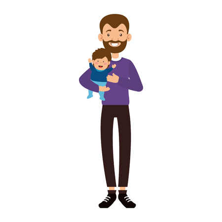 Illustrazione per cute father with beard lifting baby avatars characters vector illustration design - Immagini Royalty Free