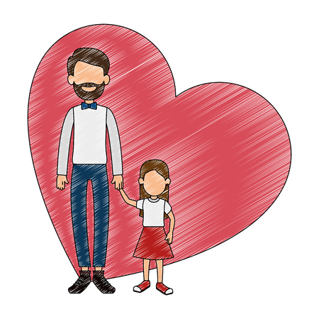 Illustrazione per cute father with daughter in heart vector illustration design - Immagini Royalty Free