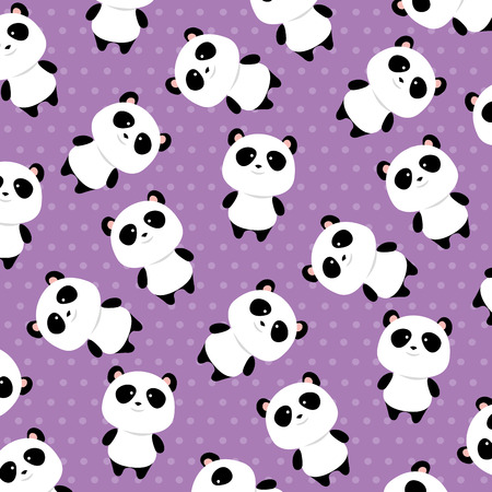 Illustration pour cute panda bears characters pattern background vector illustration design - image libre de droit