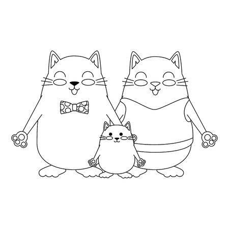 Illustrazione per cute family cats characters vector illustration design - Immagini Royalty Free