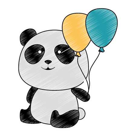 Illustration pour cute panda bear with balloons air character vector illustration design - image libre de droit