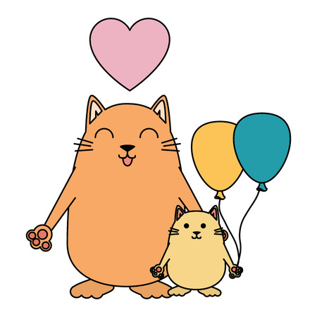 Illustrazione per cute mother and daughter cats with heart and balloons air vector illustration - Immagini Royalty Free