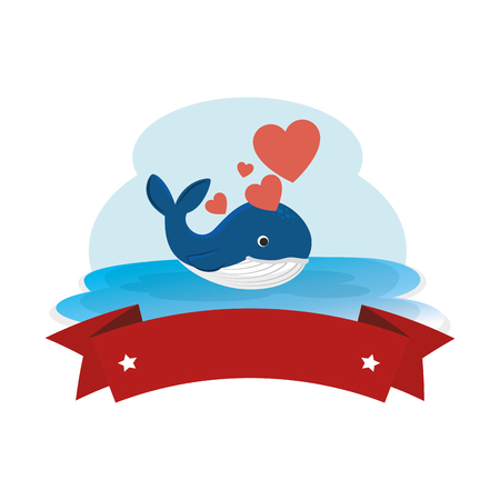 Illustration for cute whale with hearts and ribbon in the ocean character vector illustration - Royalty Free Image