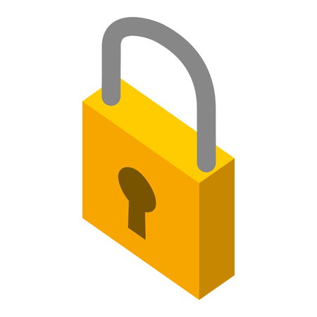 Illustration for closed security padlock protection isometric symbol vector illustration - Royalty Free Image