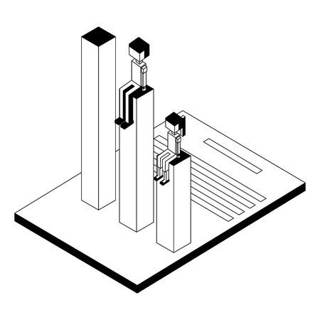 Illustrazione per couple with statistics and document isometric icon vector illustration design - Immagini Royalty Free