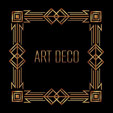 Illustration for elegant antiquarian frame in art deco style filigree ornament vector illustration - Royalty Free Image