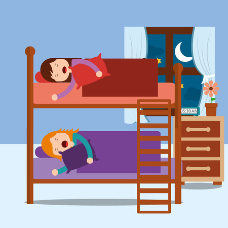 Illustration for young girls asleep in bunk bed in night bedroom vector illustration - Royalty Free Image