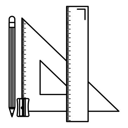 Illustration pour triangular geometric rules and pencil school vector illustration design - image libre de droit