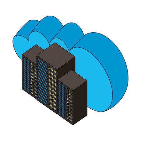 Ilustración de cloud computing data center technology isometric design vector illustration - Imagen libre de derechos