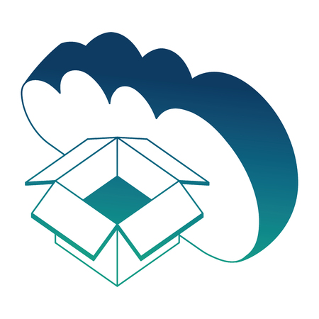 Illustration pour cloud computing cardboard box storage isometric design vector illustration blue neon - image libre de droit