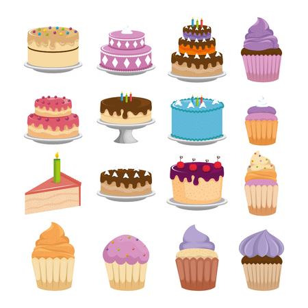 Illustration for sweet cakes set icons vector illustration design - Royalty Free Image