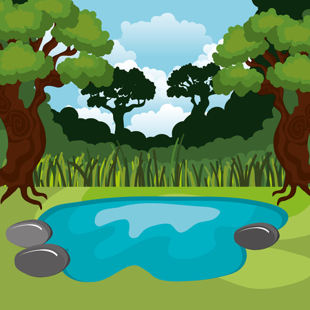 Illustration for rainforest jungle natural scene vector illustration design - Royalty Free Image
