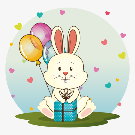 Illustration pour happy birthday card with cute rabbit vector illustration design - image libre de droit