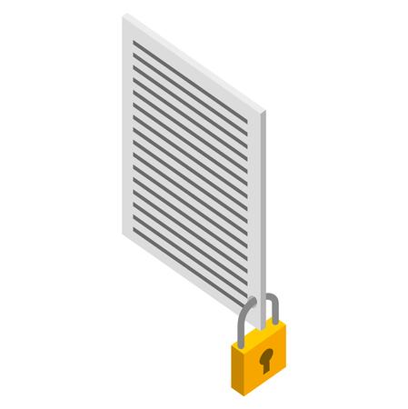 Ilustración de document file security protection isometric vector illustration - Imagen libre de derechos