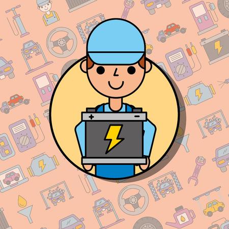 Illustration pour employee holding battery car service maintenance vector illustration - image libre de droit