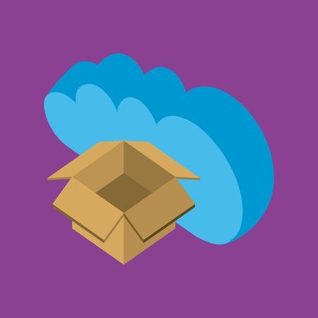 Illustration pour cloud computing storage open box data upload vector illustration isometric - image libre de droit