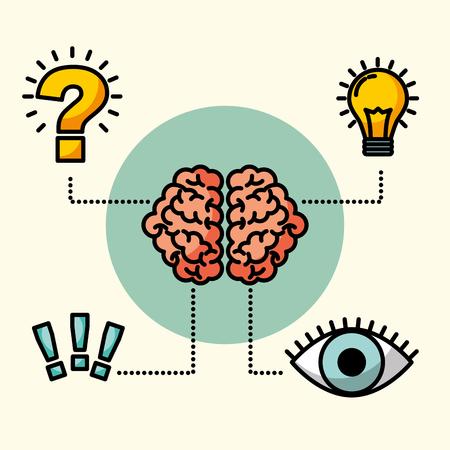 Ilustración de brain creative idea eye think exclamation question vector illustration - Imagen libre de derechos