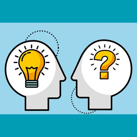 Illustration pour silhouette man heads bulb idea and question symbol vector illustration - image libre de droit