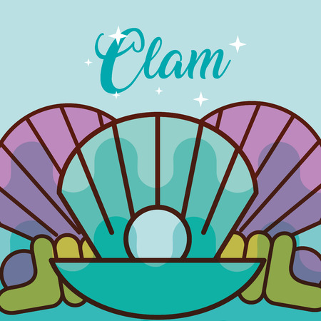 Illustration pour clam sea life cartoon fauna poster vector illustration - image libre de droit