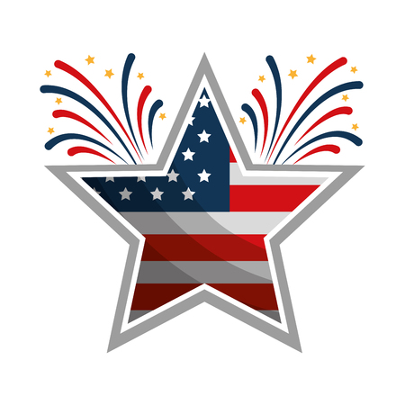 Illustration pour star with wreath USA and fireworks emblem vector illustration design - image libre de droit