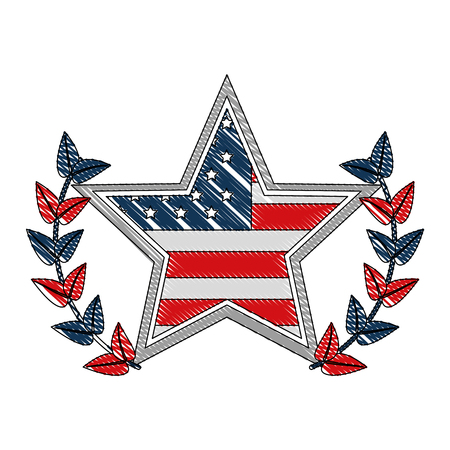 Ilustración de american flag in star with wreath emblem vector illustration - Imagen libre de derechos