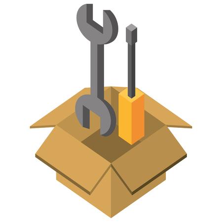 Ilustración de support repair tools in box isometric vector illustration - Imagen libre de derechos