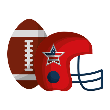 Illustration for american football helmet and balloon with USA flag vector illustration design - Royalty Free Image