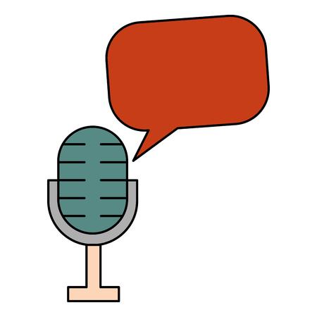 Ilustración de microphone speech bubble vintage style vector illustration - Imagen libre de derechos