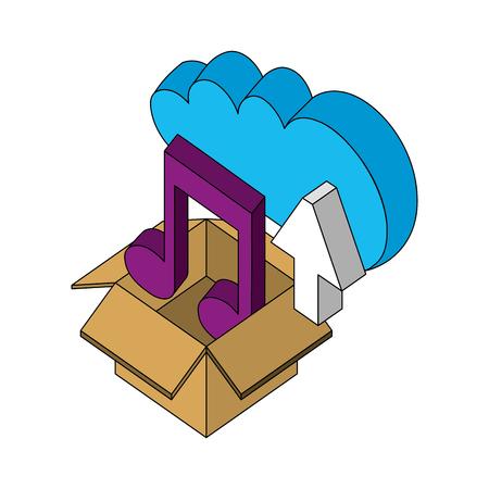 Illustration pour cloud storage box music upload isometric vector illustration - image libre de droit