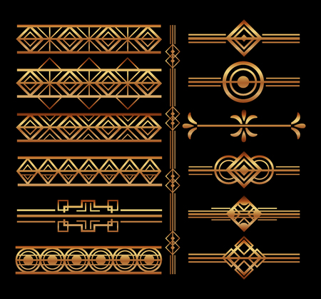Ilustración de set of art deco frames and borders vignette decoration vector illustration - Imagen libre de derechos