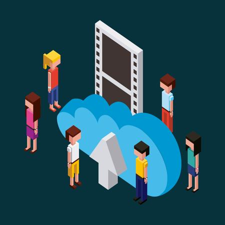 Illustrazione per people working creative process toys looking arrow upload cloud  vector illustration isometric - Immagini Royalty Free