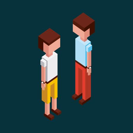 Illustrazione per green background boys looking standing up vector illustration isometric - Immagini Royalty Free