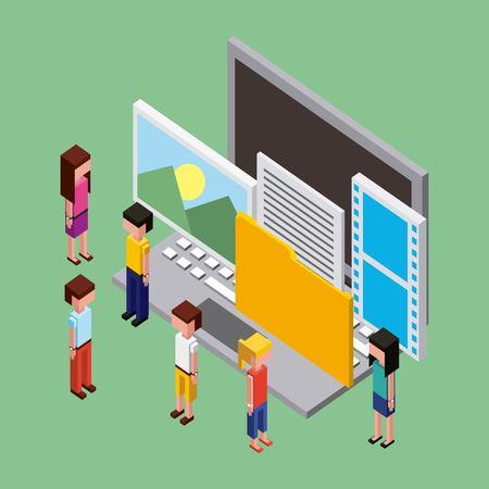 Illustrazione per people working creative paper  video computer photos folder vector illustration isometric - Immagini Royalty Free