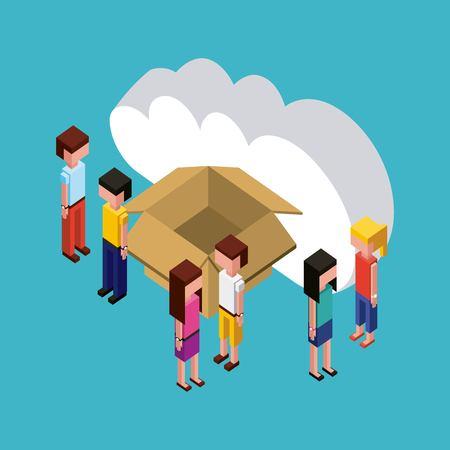 Illustrazione per people looking creative open box cloud dates vector illustration isometric - Immagini Royalty Free