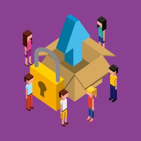 Illustrazione per people working creative process open box with arrow upload padlock vector illustration isometric - Immagini Royalty Free