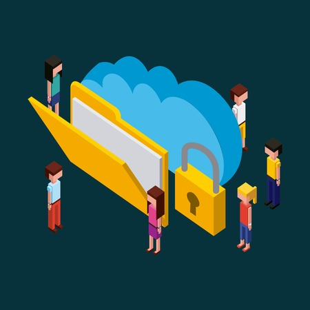 Illustrazione per people creative process blue cloud date padlock folder with papers vector illustration isometric - Immagini Royalty Free